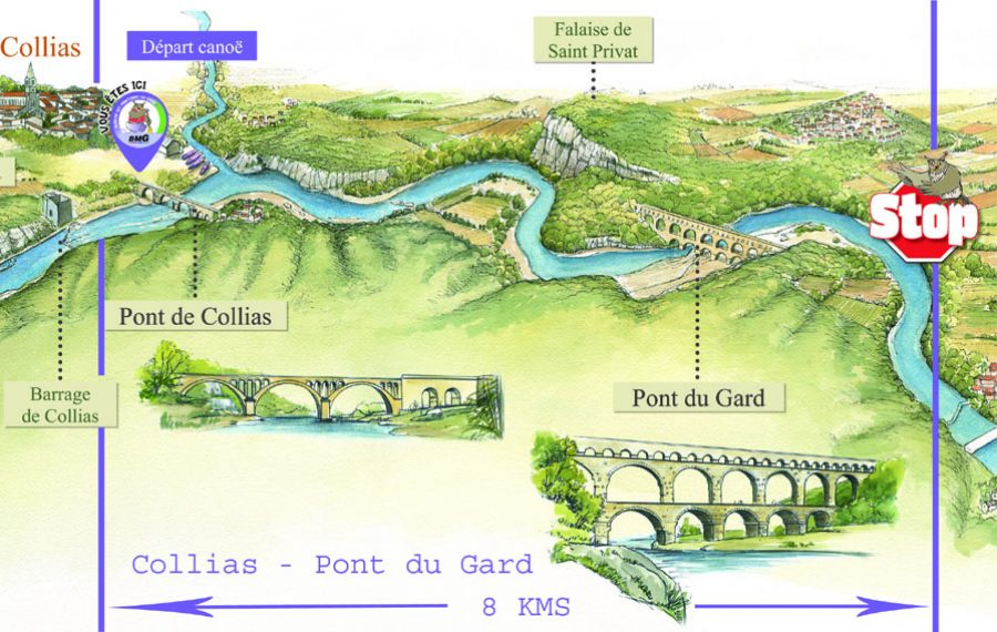 map canoe trip collias - pont du gard